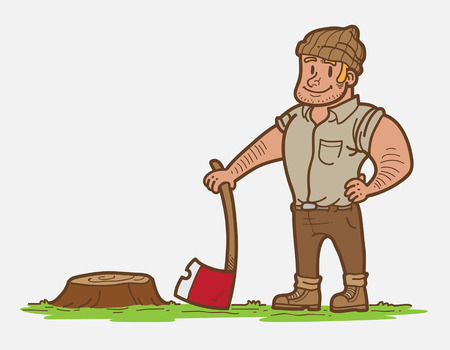 manly: Wood Cutter Illustration