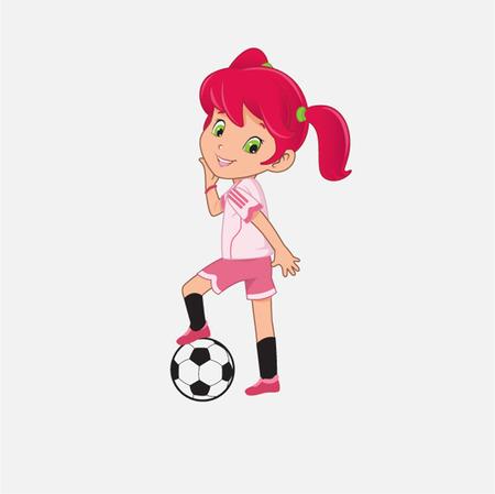 sport cartoon: Soccer girl