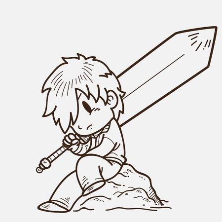 cool guy: Doodle Swordsman Illustration