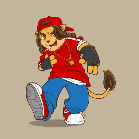 tanzen cartoon: Hip Hop-L�we