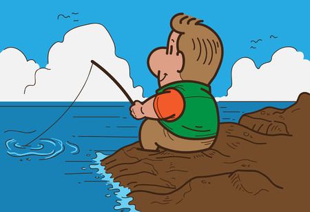 cartoon fishing: Cartoon man Fishing Illustration