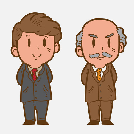 old people: Man in suit Illustration