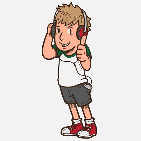 listen: Boy listen to music