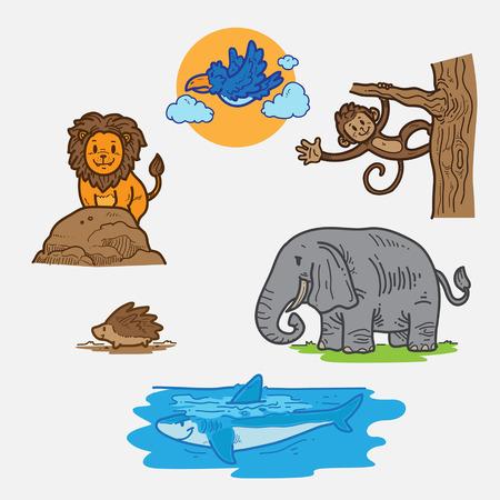 hand cartoon: Wild animal Illustration