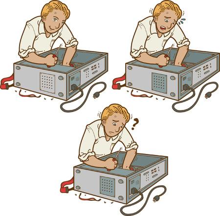 mend: Illustration of man fixing PC