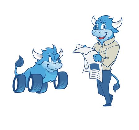 personification: Illustration of bull mascot Illustration