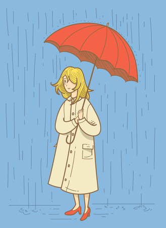 rain coat: Illustration of women in the rain Illustration