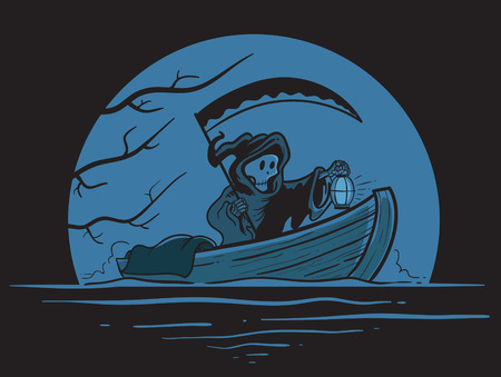 limbo: Illustration of death on a boat