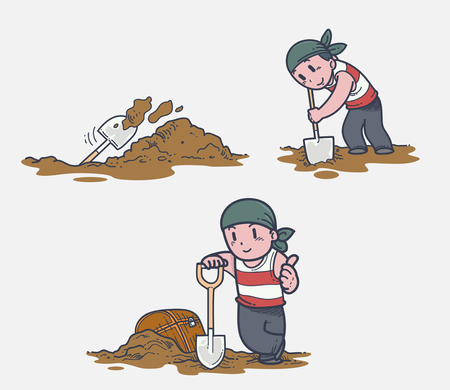 hand shovels: Digging treasure Illustration