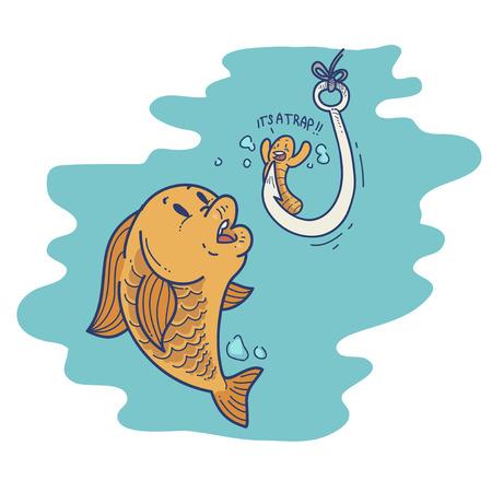 Cartoon fish bait Vektoros illusztráció