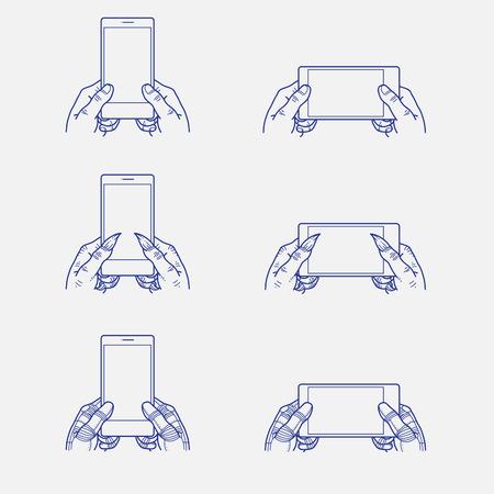 smart phone: Hands on smart phone Illustration
