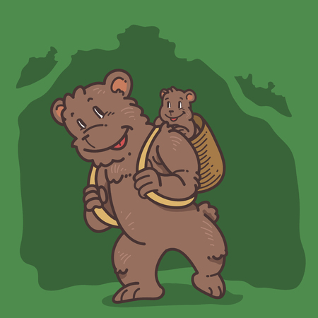cub: Bear and cub Illustration