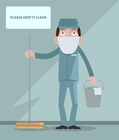 spotless: Man cleaning Illustration