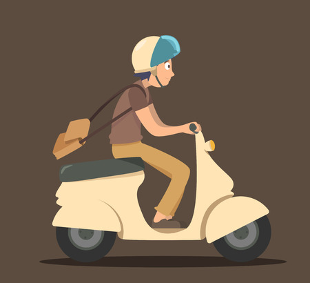 Boy ride scooter
