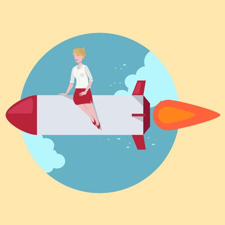 haste: Woman ride rocket