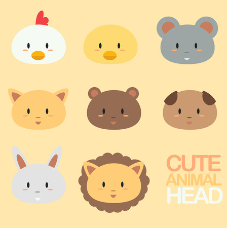cute cartoon: Cute cartoon animal head Illustration