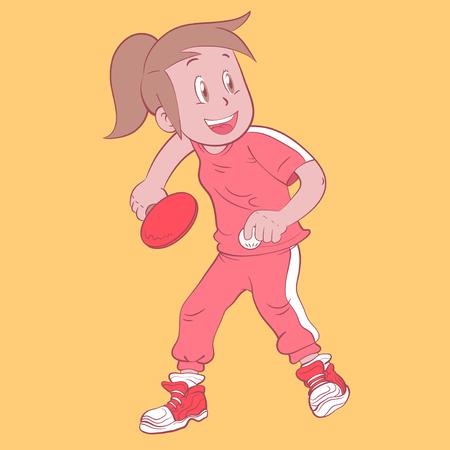 girl tennis: tennis table  girl Illustration