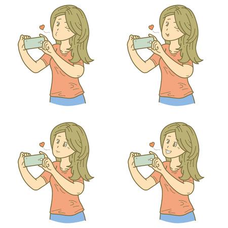 narcissistic: Selfie girl Illustration
