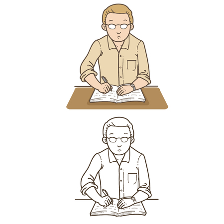 article writing: Man writing