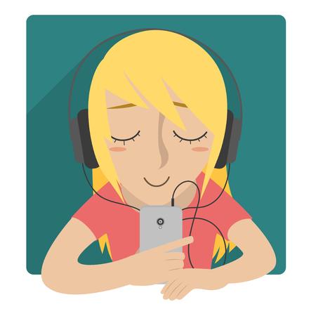 Girl listen to music using headset Illusztráció