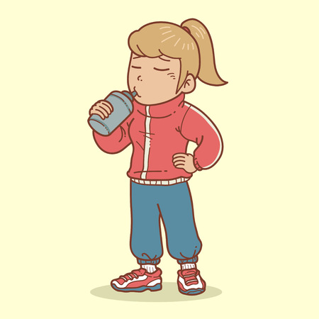 dehydrated: Girl drinking after exercising Illustration