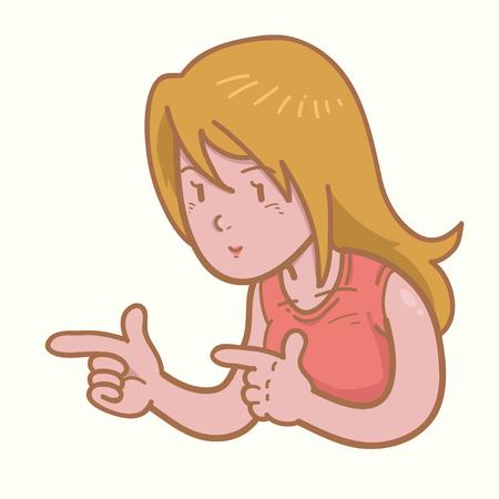 girl: Girl pointing