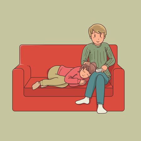ソファをカップルします。