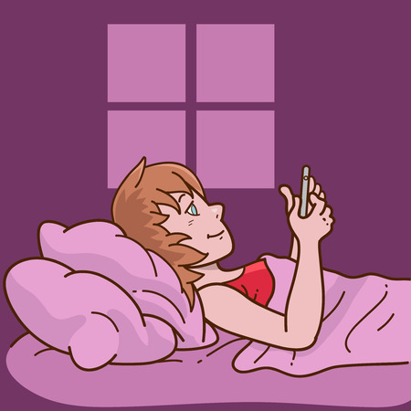 using phone: Woman laying in bed using phone