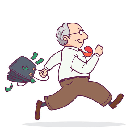 swindler: Man running with money Illustration