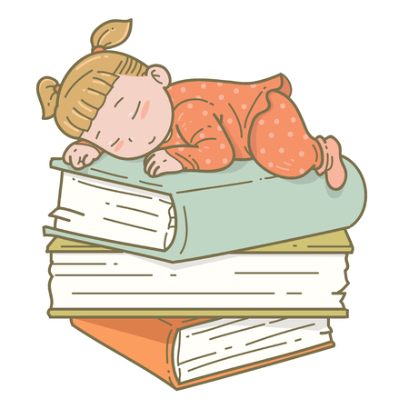 girl sleep: Girl sleep on books Illustration