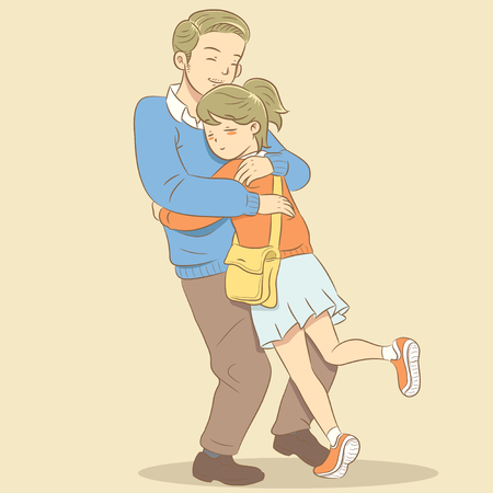 Father hug daughter Stock Vector - 65966375