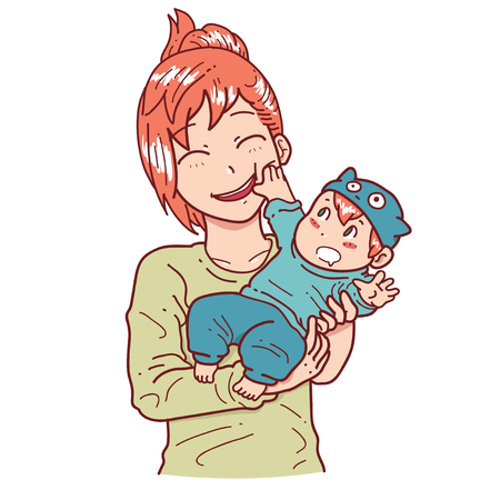 Playful baby and mother Illustration