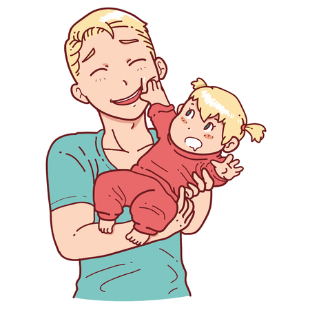 father: Playful baby and father Illustration