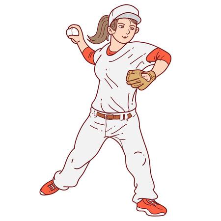 Ilustración De Dibujos Animados De La Jarra Del Jugador De Béisbol ...