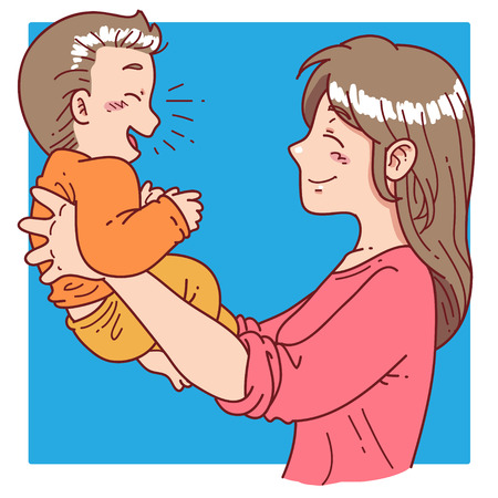 mother hold her son Illustration