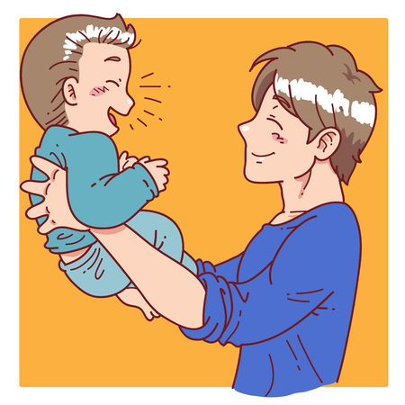 father: father hold his son
