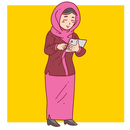woman tablet: Muslim woman use tablet Illustration