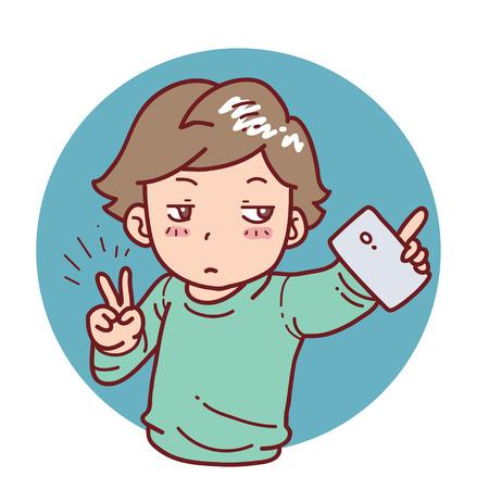 media gadget: Selfie boy cartoon style Illustration