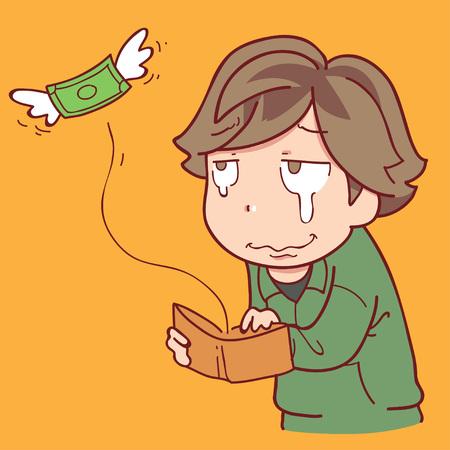 無一文の少年  イラスト・ベクター素材