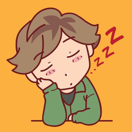 boy sleeping on a table Illustration
