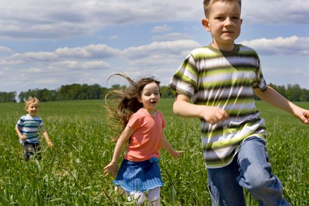 Children on meadow Stock Photo - 695902
