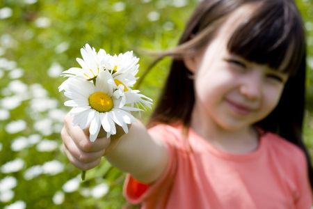 Girl with flowers Stock Photo - 695856