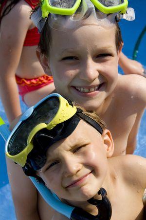 Happy swimmers Stock Photo - 720848