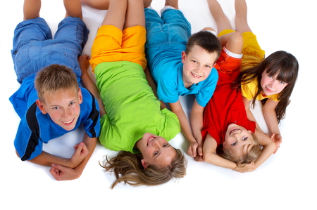 Grinning kids Stock Photo
