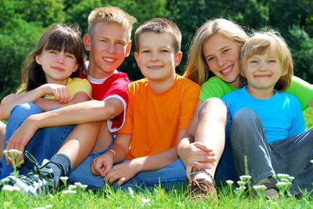 Five happy children