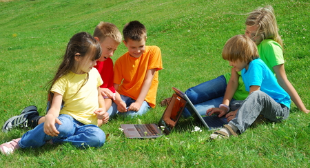 Children With Laptop Computers Stock Photo