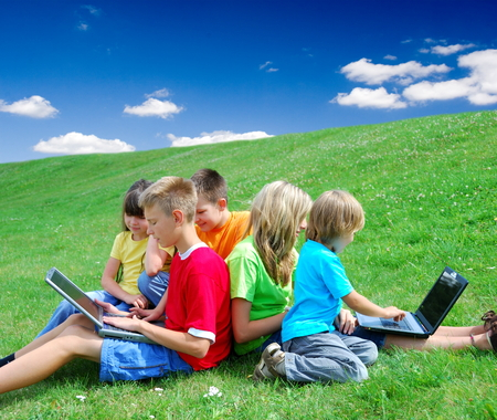 Children with laptops