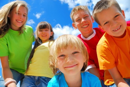 Smiling Children Outdoors
