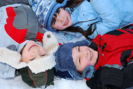 trois enfants: Trois enfants en hiver