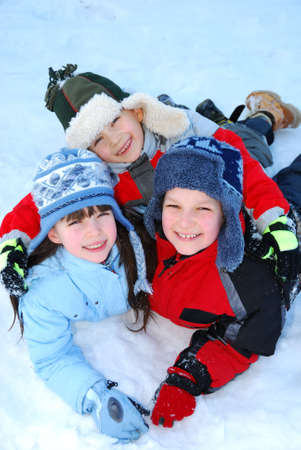 Children playing in snow photo